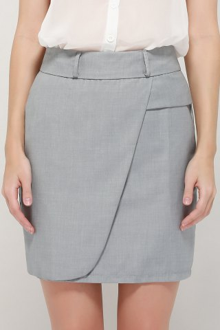 Latest Graceful OL Style Women's Pencil Skirt(With Belt) GRAY L