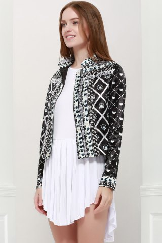 Buy Fashionable Stand Collar Long Sleeves Printed Jacket For Women - S BLACK Mobile