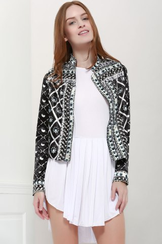Trendy Fashionable Stand Collar Long Sleeves Printed Jacket For Women - S BLACK Mobile