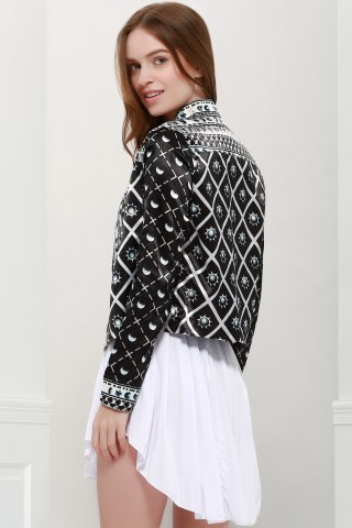 Discount Fashionable Stand Collar Long Sleeves Printed Jacket For Women - S BLACK Mobile
