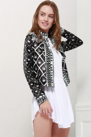 Discount Fashionable Stand Collar Long Sleeves Printed Jacket For Women - L BLACK Mobile
