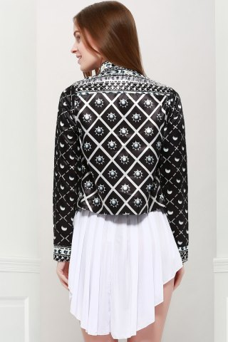 Affordable Fashionable Stand Collar Long Sleeves Printed Jacket For Women - L BLACK Mobile
