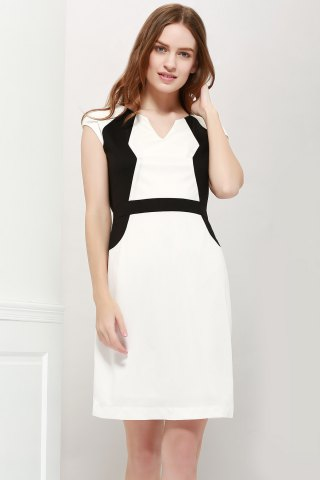 Shops Color Block V-Neck Modern Style Sleeveless Polyester Women's Formal Dress