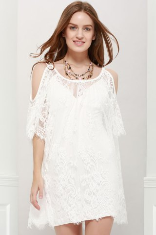 Ladylike Scoop Neck Off-The-Shoulder Lace See-Through Dress For Women - White - L