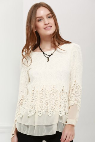 Cheap Lace Panel Long Sleeve Casual Top - M OFF-WHITE Mobile