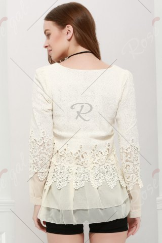Latest Lace Panel Long Sleeve Casual Top - M OFF-WHITE Mobile
