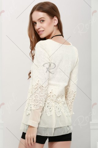 Chic Lace Panel Long Sleeve Casual Top - M OFF-WHITE Mobile