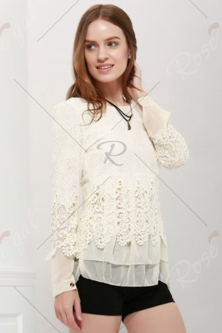 Chic Lace Panel Long Sleeve Casual Top - OFF-WHITE L Mobile