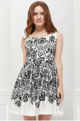 Vintage Scoop Neck Sleeveless Printed Slimming Women's Dress - WHITE