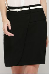 Graceful OL Style Women's Pencil Skirt(With Belt) - BLACK L