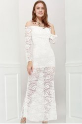 Off Shoulder Maxi Lace Sheer Party Prom Dress