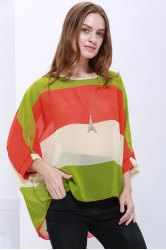 Stylish Scoop Neck Batwing Sleeve Color Splicing Chiffon Blouse For Women - COLORMIX