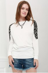Morden Style Loose-Fitting Leopard Splicing Long Sleeves Women's Long T-Shirts -