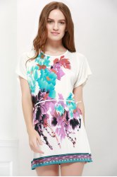 Gorgeous Scoop Neck Bat-Wing Sleeve Floral Print Lace-Up Women 's Blouse - AS THE PICTURE XL
