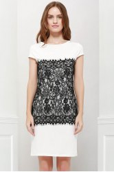 Stylish Round Collar Short Sleeve Lace Spliced Bodycon Women's Dress - WHITE