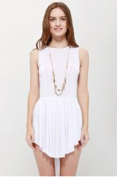 Fashionable Solid Color Scoop Neck Asymmetric Pleated Sleeveless Women's Dress - WHITE