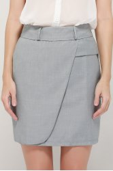 Graceful OL Style Women's Pencil Skirt(With Belt) - GRAY