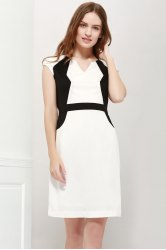 Color Block V-Neck Modern Style Sleeveless Polyester Women's Formal Dress