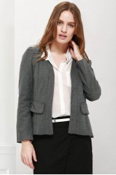 Long Sleeves Lapel Chiffon Stitching Asymmetrical Hem Shoulder Pad Stylish Women's Coat