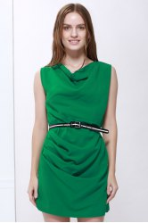 Solid Color Sleeveless Cowl Neck Belt Design Trendy Women's Dress
