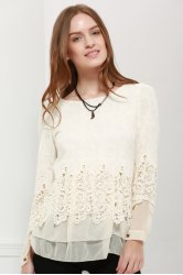 Lace Panel Long Sleeve Casual Top - OFF-WHITE M