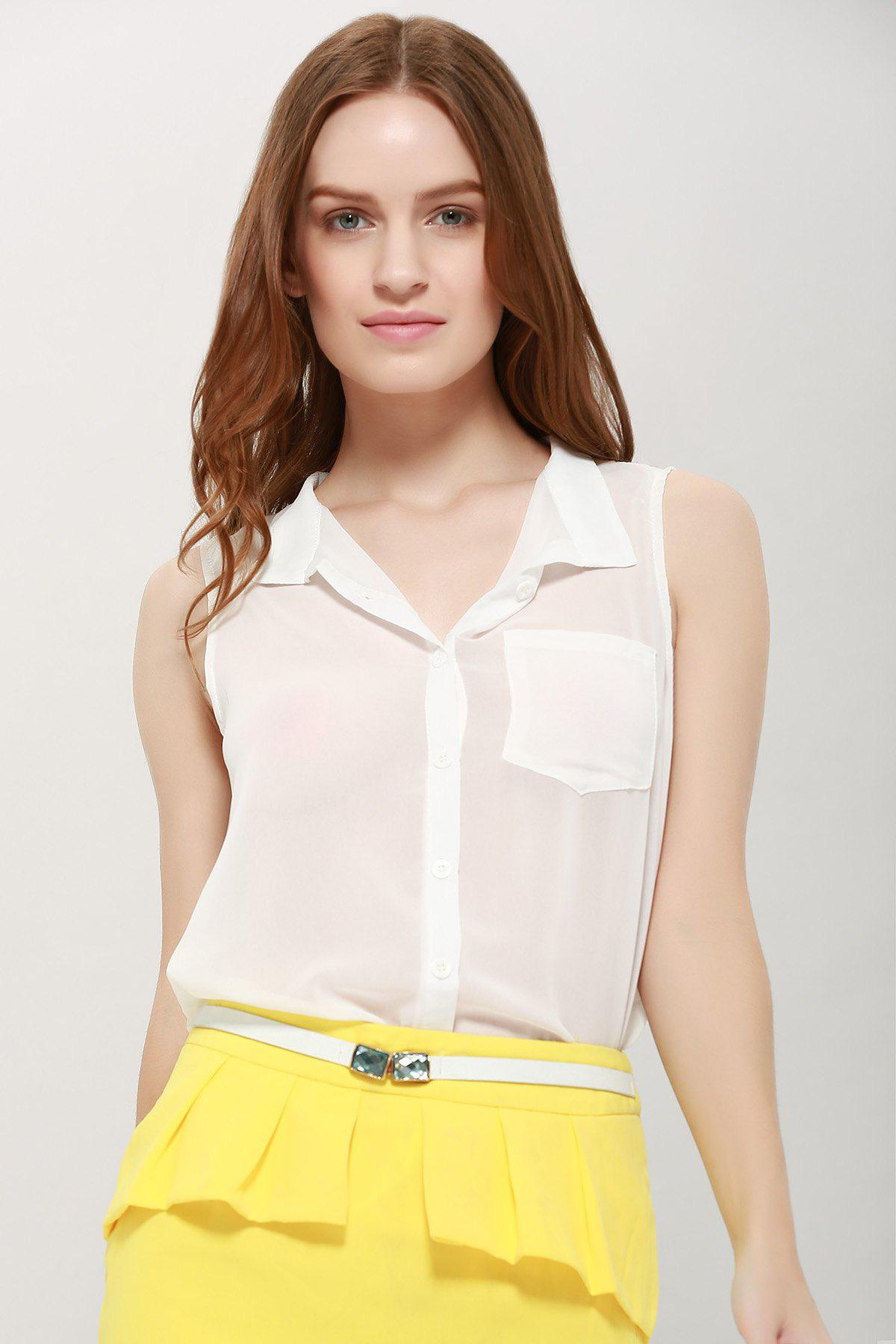 Sleeveless Stand Collar Single-breasted Blouse