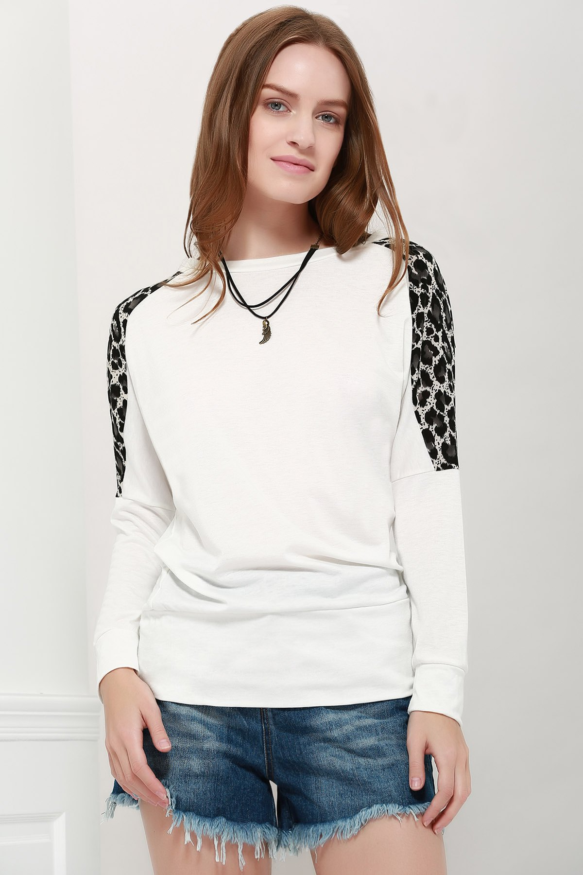 Fashion Morden Style Loose-Fitting Leopard Splicing Long Sleeves Women's Long T-Shirts
