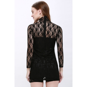 High Neck Puff Sleeve Lace Dress - BLACK ONE SIZE