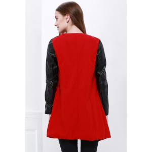 Lady Long Warm Leather Sleeve Jacket Coat Trench - RED M