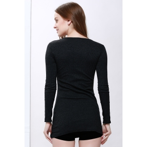 Scoop Neck Solid Color Zip Decorated Women's Long Sleeve Dresses - BLACK ONE SIZE