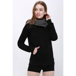 Casual Style Loose-Fitting Solid Color Long Sleeve Women's Hoodie - BLACK S