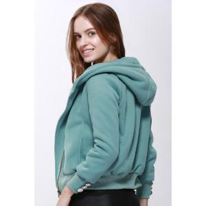 Fashionable Solid Color Long Sleeve Hoodie For Women - PEA GREEN S