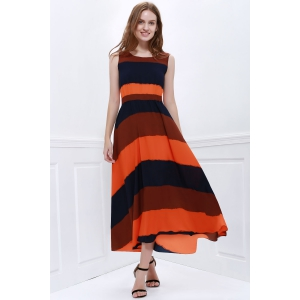 Western Style Color Block Broad Stripe Print Elastic Waist Women's Chiffon Ankle-Length Dress - AS THE PICTURE ONE SIZE