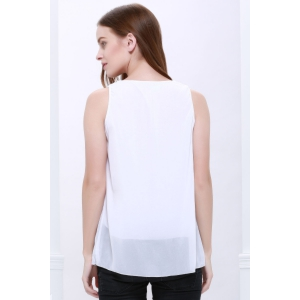 Popular Plus Size Sleeveless Chiffon Women's Summer Blouse - WHITE M