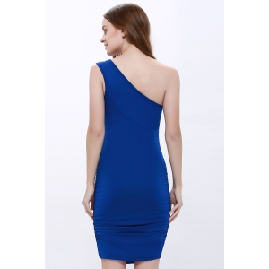 One Shoulder Rhinestone Party Night Out Dress - ROYAL BLUE ONE SIZE
