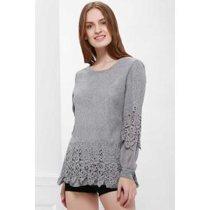 Lace Panel Long Sleeve Casual Top - GRAY L