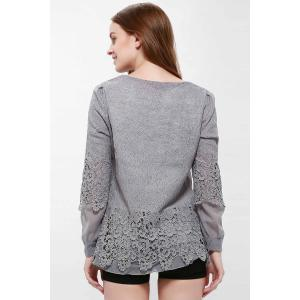 Lace Panel Long Sleeve Casual Top - GRAY M