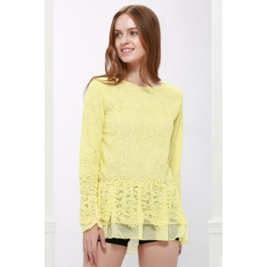 Lace Panel Long Sleeve Casual Top - Yellow - M