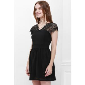 Lace Panel Back Cutout Mini Club Dress - BLACK XL