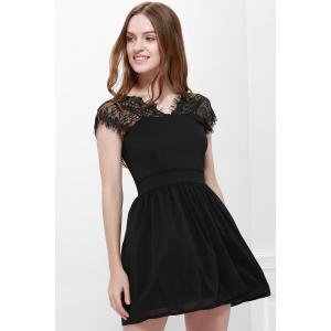 Lace Panel Back Cutout Mini Skater Club Dress - BLACK XL