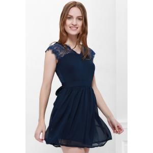 Cape Sleeve V-Neck Backless Lace Splicing Wide Hem Women's Dress - Bleu XL