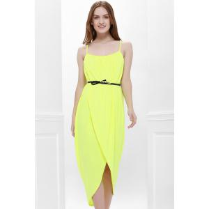 Sexy Spaghetti Strap Sleeveless Solid Color Furcal Women's Dress - Yellow - S