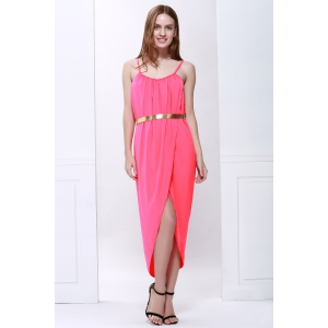 Sexy Spaghetti Strap Sleeveless Solid Color Furcal Women's Dress -