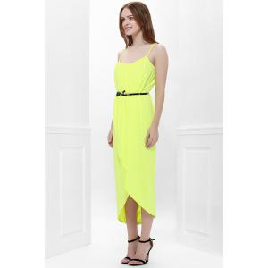 Sexy Spaghetti Strap Sleeveless Solid Color Furcal Women's Dress - YELLOW S