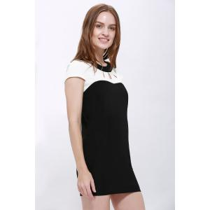 Elegant Jewel Neck Short Sleeve Hollow Out Color Block Dress For Women -