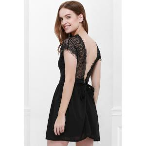 Cape Sleeve V-Neck Backless Lace Splicing Wide Hem Women's Dress - BLACK S
