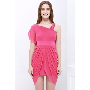 One Strap Ruffled Asymmetric Hem Tulip Bridesmaid Dress