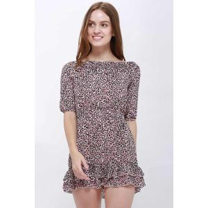 Sexy Slash Collar 3/4 Sleeve Leopard Print Mini Women's Dress