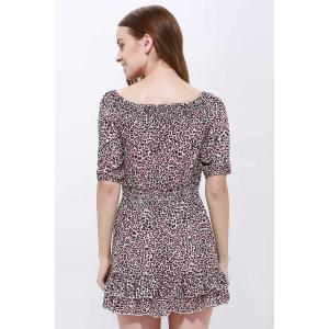 Sexy Slash Collar 3/4 Sleeve Leopard Print Mini Women's Dress -