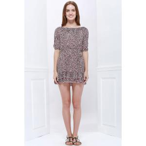 Sexy Slash Collar 3/4 Sleeve Leopard Print Mini Women's Dress - LEOPARD S